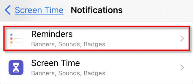 """In """"Notifications,"""" tap the name of the app whose notifications you'd like to mute in CarPlay."""