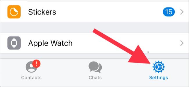 Tap Settings in Telegram