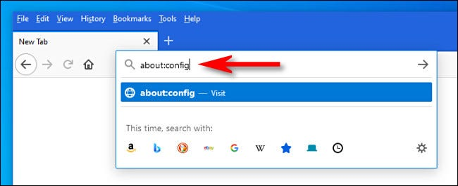 "In Firefox, type ""about:config"" into the address bar and hit Enter."
