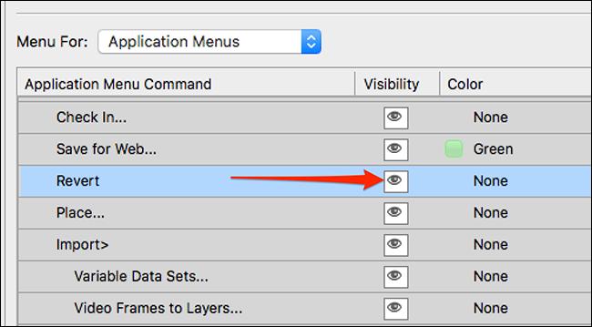 Unhide an item in a Photoshop menu