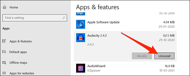 Uninstall option for an app