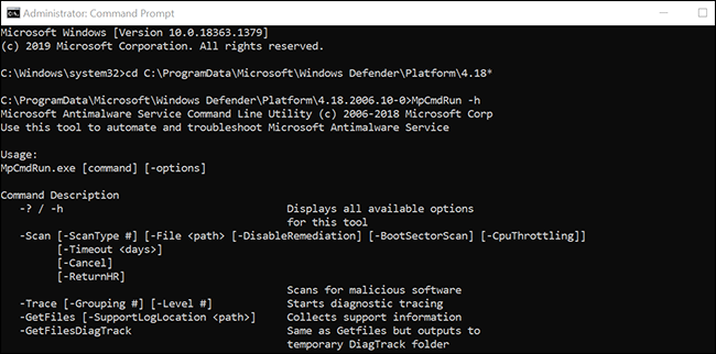 View all the Microsoft Defender Antivirus commands