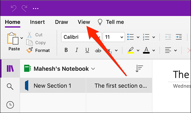 The View menu in OneNote for Mac