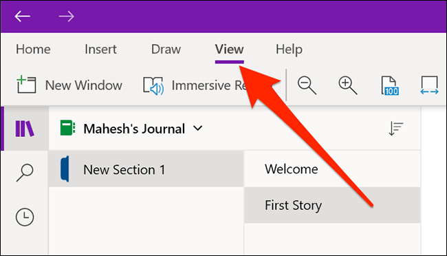 The View menu in OneNote