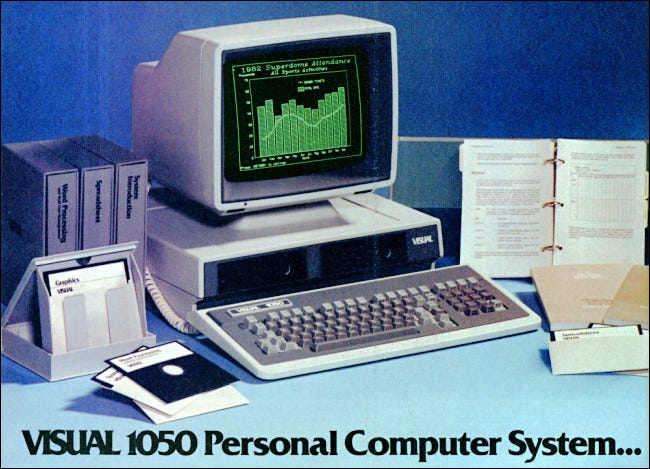 The Visual 1050 computer from a 1983 magazine ad.