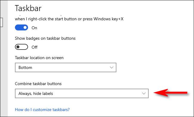"""Click the """"Combine taskbar buttons."""""""