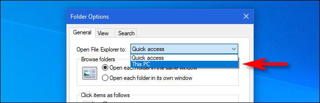 """Select """"This PC"""" from the menu."""