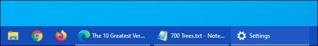 An example of a Windows 10 taskbar with visible button labels.