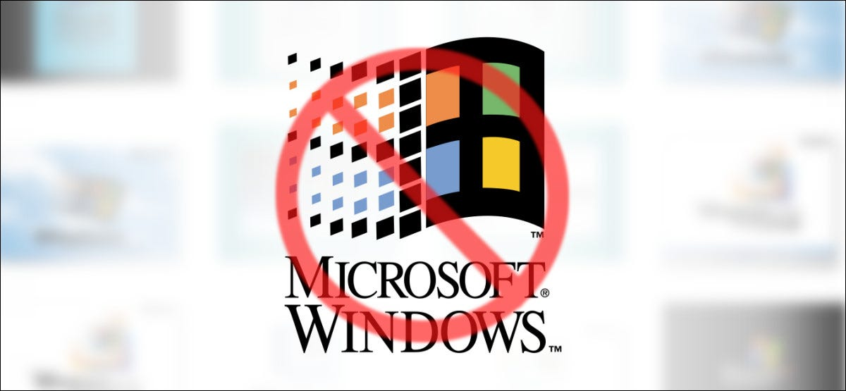 Windows Logo with a Cross-Out over it