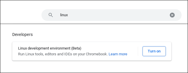 """ChromeOS settings page with """"Linux"""" in the search bar"""