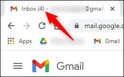 """The """"unread emails"""" number displayed for the Inbox."""