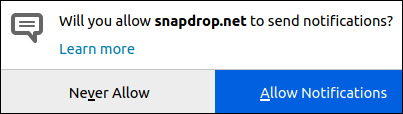 Dialog box with options for Snapdrop notifications