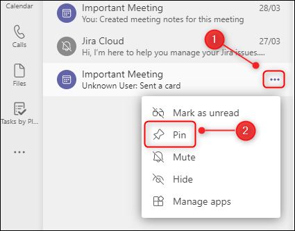 "The ""Pin"" menu option."