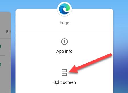tap split screen from the menu
