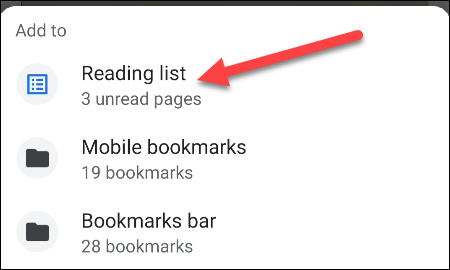select Reading List from menu