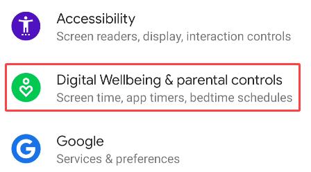 select digital wellbeing