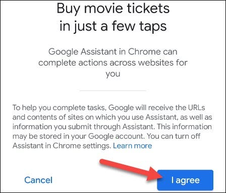 agree to use assistant in Chrome