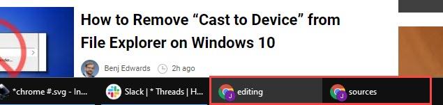 Noms des fenêtres Chrome