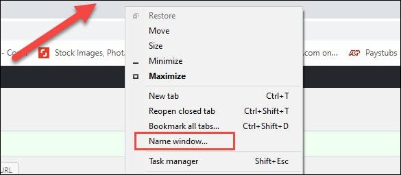 right click window and name window