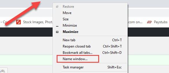 Cliquez avec le bouton droit sur la fenêtre et le nom de la fenêtre