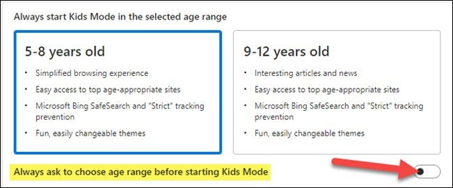 always ask to choose age range