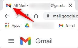 """The """"unread emails"""" number on the tab icon."""