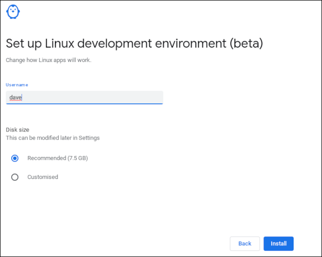 Setting a user name in the ChromeOS Linux installation