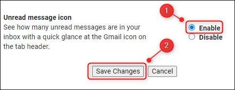 """The """"Enable"""" option for the """"Unread message icon"""" setting."""