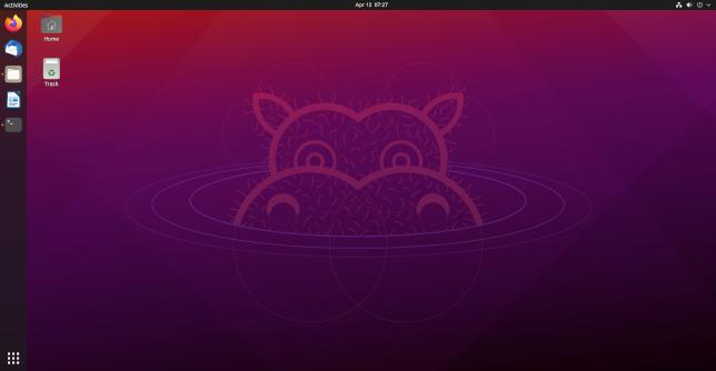 The Ubuntu 21.04 default desktop