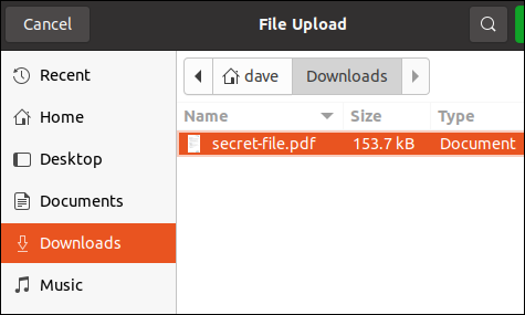 File selection dialog with a selected file