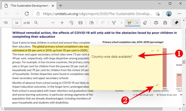 Добавить комментарий для сохранения в PDF с помощью Microsoft Edge