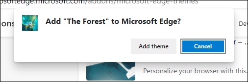 Add Theme Confirmation button in Edge