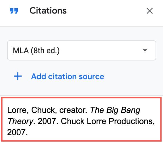 Source de la citation dans la liste
