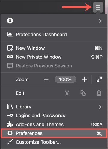 Click Applications Menu, Preferences in Firefox on Mac
