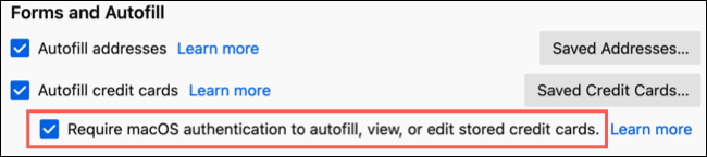 Check the box to authenticate autofill for credit cards