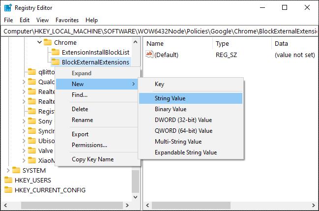 Add new String Value to BlockExternalExtensions subkey