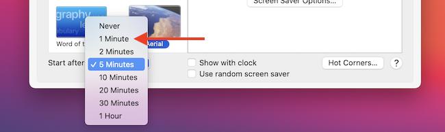 Change Screen Saver Time