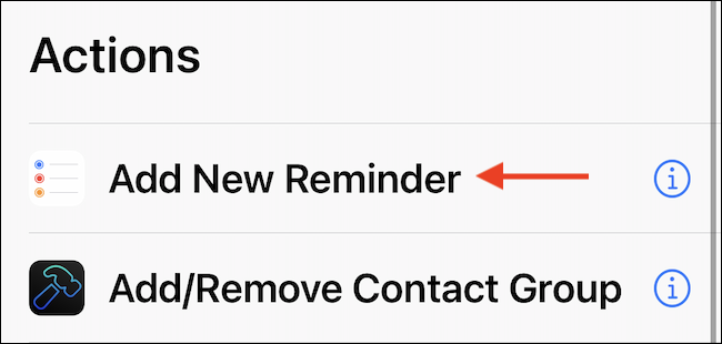 """Use the """"Add New Reminder"""" action in the shortcut."""