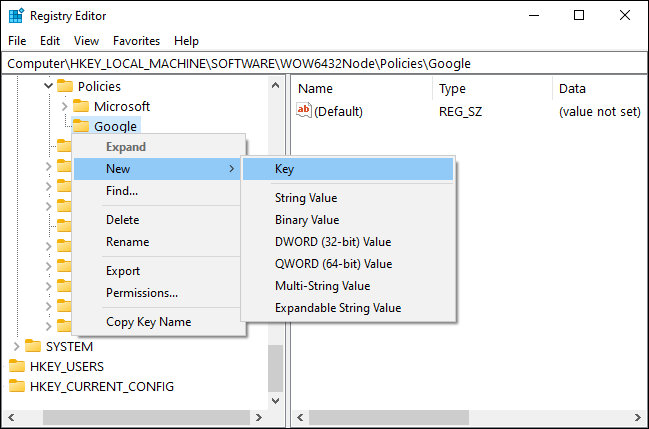 Make new Chrome subkey in the Registry Editor
