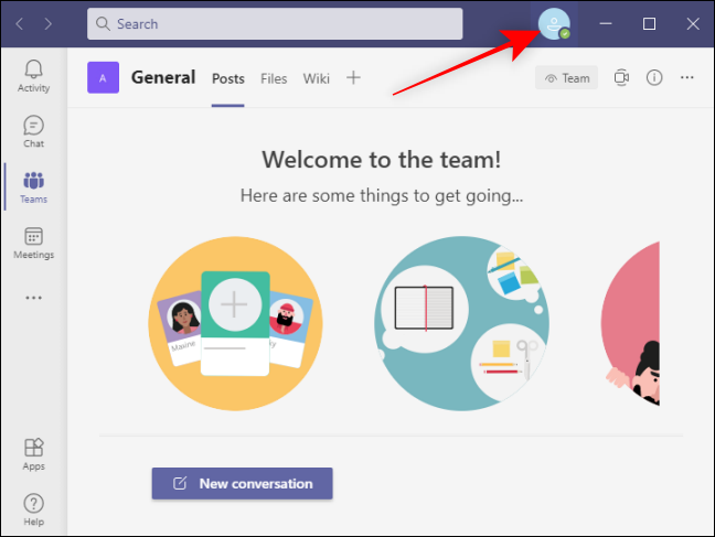 Click Profile icon to open settings in Team
