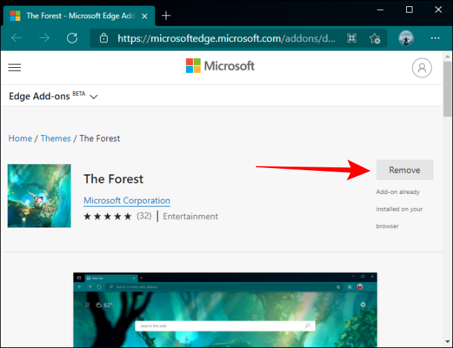 Click Remove Button Edge Themes page