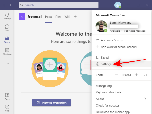 Click Settings in Teams for your profile