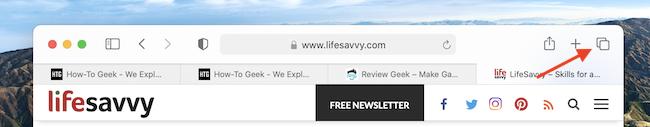 Click Tab Switcher Button in Safari for Mac