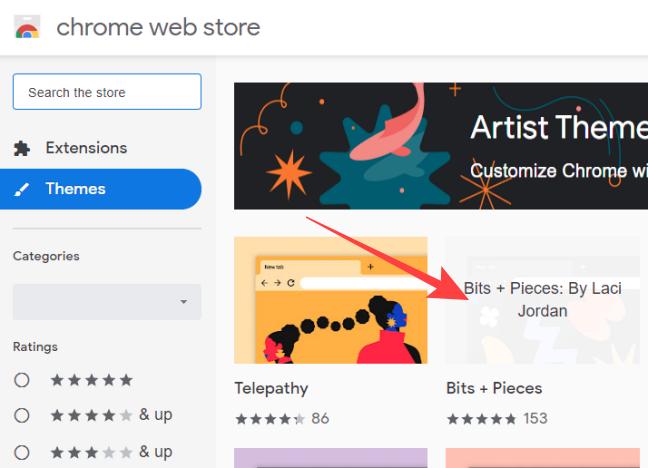 Click Themes thumbnail in Chrome web store