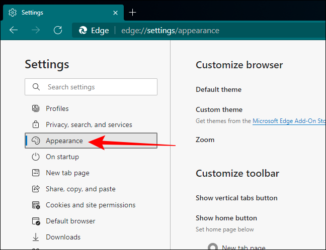 Click on Appearance in Settings of Edge