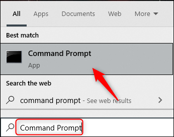 Command Prompt search result in Windows 10