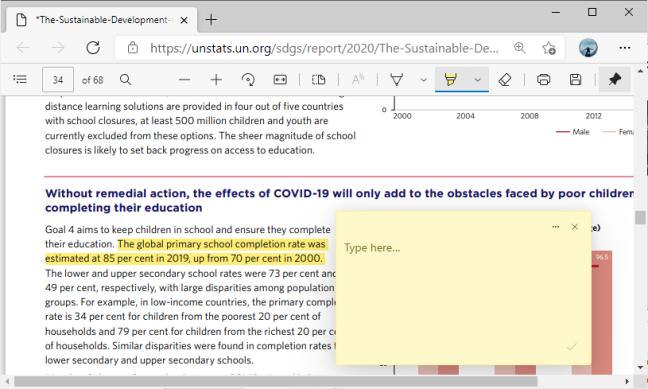 Поле для комментариев к PDF в Microsoft Edge