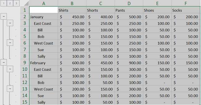 Автоматическая схема, созданная в Excel