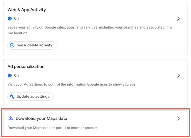 Click Download Your Maps Data