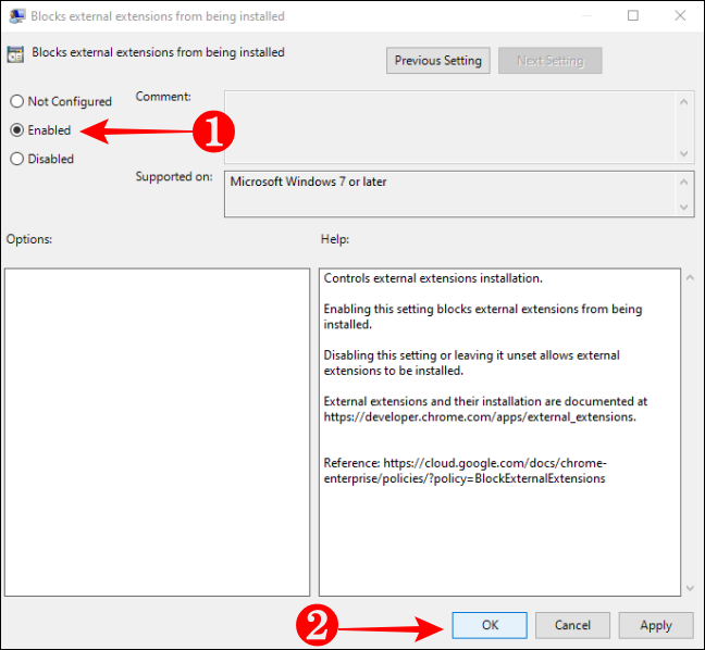 Enable Blocking External Extensions from being installed in Chrome